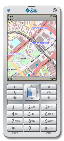 Mobile Street Map application showing a map of Berlin